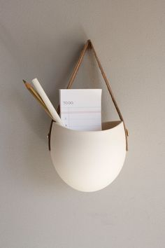 porcelain and leather hanging container- medium size