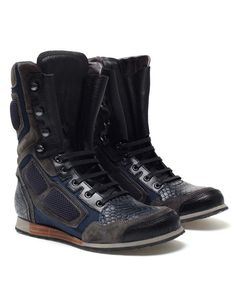 Leather and Suede High-top Biker Boots by LANVIN at Browns Fashion.
