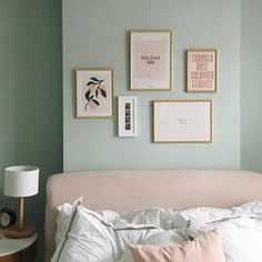 After months of a dusty pile of frames next to our bed, this weekend we finally got them up on the wall (thanks grandad!) and I couldn't be… Pastel Bedroom, Bedroom Wall Colors, Bedroom Color Schemes, Room Ideas Bedroom, Light Green Bedrooms, Bedroom Green, Green Rooms, Farrow And Ball Bedroom, Farrow And Ball Paint