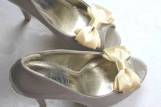 Cream Shoe Bows Dark Cream Satin Bow Shoe by Bouquet by Rosa Loren. Click for more details