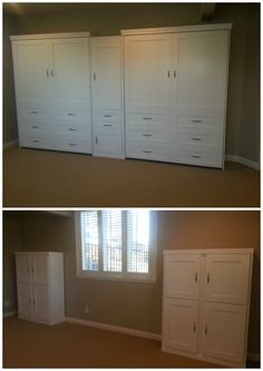 Our customer chose two BedderWay Vertical Queen Dresser Cabinet Face Murphy beds in maple painted white with brushed chrome traditional pull handles along with four horizontal cabinets.