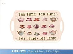 Teatime 48cm Melamine Sandwich Tray with Classic Cup Saucers & Teapots Design *** Details can be found by clicking on the image.