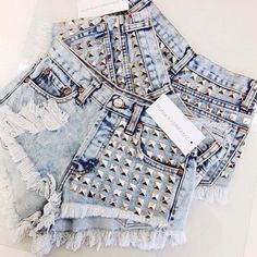 Studded Jean Shorts ...  or ?   #ootd #cute