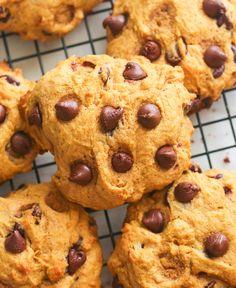 Pumpkin Chocolate Chip Cookies - Immaculate Bites Pumpkin Dishes, Pumpkin Recipes, Pumpkin Spice, Cookie Recipes, Bar Recipes, Coco Bread Recipe, Pumpkin Chocolate Chip Cookies, Cookie Calories, Cookies