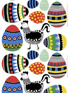 Rai Rai, design Maija Louekari for Marimekko Colourful chickens with coordinating?contrasting? Easter eggs appliqué for quilt