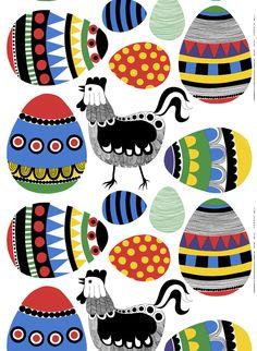 Rai Rai, design Maija Louekari for Marimekko Colourful chickens with coordinating?contrasting? Easter eggs appliqué for quilt