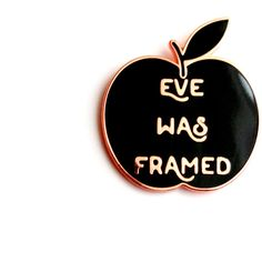 "Eve Was Framed Black and Rose Gold Lapel Pin 1.25"" hard enamel, 70s... ($13) ❤ liked on Polyvore featuring jewelry, pin jewelry, enamel jewelry, rose gold jewellery, pink gold jewelry and red gold jewelry"