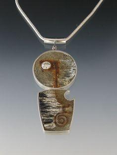 Tom Mccarthy ||  Beth's Pendant, sterling, concrete, steel, rust, diamond,ebony (453×600)  ||  http://www.dailyartmuse.com/2011/08/24/tom-mccarthy/