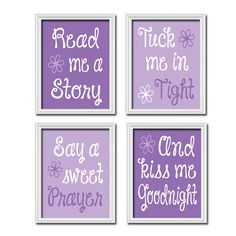 Cute Purple Lavendar Lilac Kiss Me Goodnight Quote Crib Nursery Song Print Artwork Set of 4 Prints Wall Baby Decor Art Picture on Etsy, $33.00