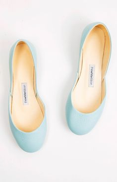 The Mint Green Leather Ballet Flats