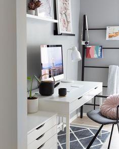 Cosy monochrome Workspace Office Workspace, Workspaces, Cosy, Corner Desk, Monochrome, Furniture, Home Decor, House, Corner Table