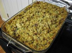 OLD FASHION CORNBREAD DRESSING  9 -10 cups cornbread, crumbled 2 cups celery, chopped 3 cups onions, chopped 2 ½ tablespoons poultry seasoning 1 Tsp of Sage 1 teaspoon salt 1/2 cup butter, melted 3-4 cups chicken broth 3 eggs, lightly beaten 1 cup of cooked chicken