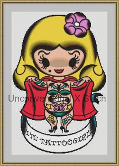 Lil Tattoo Girl pinup tattoo pop art cross stitch pattern - Licensed Mitch O'Connell retro art by UnconventionalX on Etsy