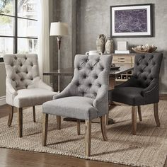 Signal Hills Benchwright Button Tufts Wingback Hostess Chairs (Set of 2) (Grey Linen)