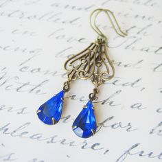 Vintage Rhinestone Earrings // Sapphire Blue by NoonOnTheMoon, $19.00