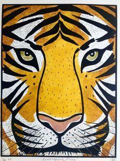 Alison Headley - Prints for Sale Animal Paintings, Animal Drawings, Art Drawings, Painting Inspiration, Art Inspo, Silkscreen, Tiger Art, Illustration Art, Illustrations