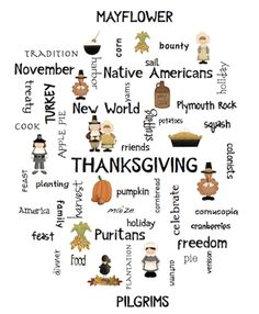 Thanksgiving Word Art Poster Activities FREE