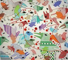Textiles (rain of birds) by Ivan Semesyuk, via Behance