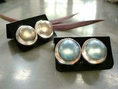 Gold Pearl Mabe earrings and Huge Blue Mabe earrings. Clip Ons