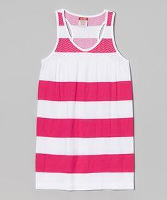 Loving this Fuchsia Stripe Racerback Dress on #zulily! #zulilyfinds