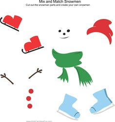 Cut and Paste a Snowman http://www.kidscanhavefun.com/cut-paste-activities.htm #worksheets #snowman #kidsactivities