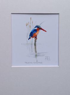 Malachite Kingfisher A5 Giclée Print www.louisehennigs.co.za