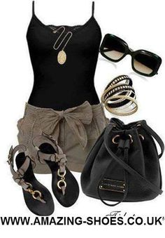 Black spaghetti strap tank top, gray shorts with tie (bow) belt, black purse and sunglasses, flat black ankle buckle sandals with gray straps wit black, rhinestone, and gold stacked bangle bracelets, gold pendant necklace.