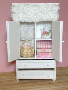 Dollhouse Miniature Shabby Chic Armoire by miniaturerosegarden, $59.00