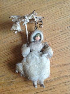 Antique-Germany-Christmas-spun-cotton-ornament-GIRL-UMBRELLA