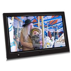 Display Photos with Background Music 1080P Video Digital Photo Frame with USB and SD Card Slots,White Digital Picture Frame IPS Display Motion Sensor