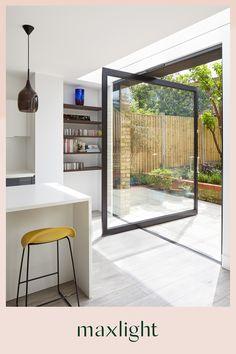 House Extension Design, House Design, Extension Ideas, Pivot Doors, Sliding Doors, External Doors, Floor Layout, House Extensions, Kitchen Extensions