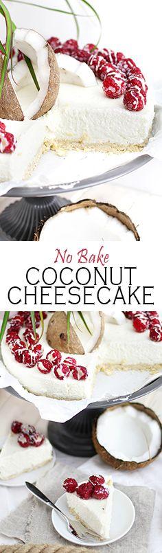 No Bake Coconut Cheesecake with Raspberries  Kokosnuss Cheesecake ohne backen und mit Himbeeren