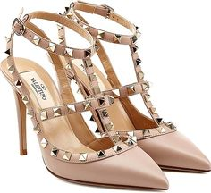 Valentino Shoes - Iconic and covetable, the cult-worthy Rockstud pump from Valentino is a favorite among the discerning style set. Smooth powder leather makes this pair perfect for daytime dress-up. - #valentinoshoes #mauveshoes