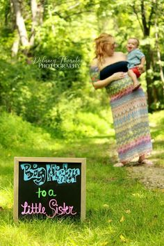 """""""Big mister to a little sister"""" chalkboard outdoor maternity photo with mother and son. #motherandson #maternitydress"""