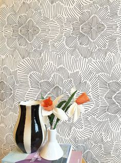 Removable Wallpaper / Pinstripe Floral Black and White / Assorted lengths / Perfect for Renters and owners - Abode - Yorgo Wallpaper Schwarz, Peelable Wallpaper, Temporary Wallpaper, Removable Wallpaper For Renters, Renters Wallpaper, Closet Wallpaper, Bedroom Wallpaper, Wallpaper Desktop, Nature Wallpaper