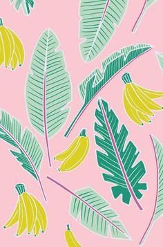 Tropical banana leaf pattern - Black Lamb studio via Print and Pattern Jungle Pattern, Textile Patterns, Print Patterns, Textiles, Leaf Patterns, Fruit Illustration, Pattern Illustration, Tumble N Dry, Tropical Fashion