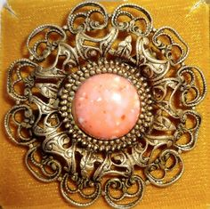 "Vintage Pink Coral Brooch Pink Gold filigree Maui Divers of Hawaii 2"" #MauiDiversofHawaii"
