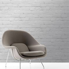 Faux Effect Wallpaper by Chalk Decor with Saarinen Womb Chair