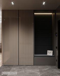 Warm flat on Behance Wardrobe Door Designs, Wardrobe Design Bedroom, Bedroom Bed Design, Home Room Design, House Design, Shoe Cabinet Entryway, Shoe Cabinet Design, Hallway Furniture, Home Decor Furniture