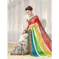 Multicolor faux georgette and net saree with blouse. Saree is embellished with lace, multi, resham and stones. Bring out the true Diva in you and reinvent your true self. Paired with the matching blouse piece. Indian Designer Sarees, Designer Sarees Online, Trendy Sarees, Fancy Sarees, Net Saree, Colourful Outfits, Vintage Outfits, Couture, My Style