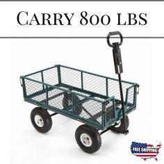 Cart Yard Garden Utility Wagon Dump Lawn Heavy Duty Wheelbarrow Trailer Steel #GardenUtilityWagon