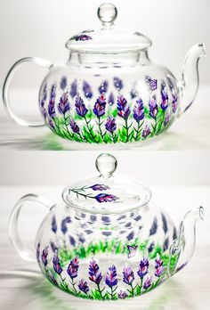 Purple Flowers Teapot Personalized Wedding Gift for Mom from Daughter - Hand painted Glass Teapot with Infuser Tea Party Favors Kitchen Dining, Dining Room, Elo 7, Glass Teapot, Lavender Fields, Floral Kimono, Personalized Wedding Gifts, Pretty And Cute, Brides And Bridesmaids