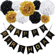 KUNGYO Happy Birthday Flag Bunting Banner and Set of 9 Tissue Paper Pom Poms Flowers Garland for Birthday Party Decorations (Black Banner Gold Letter) Birthday Flags, 65th Birthday, Gold Birthday, Birthday Diy, Happy Birthday Banners, Birthday Parties, Party Banner, Bunting Banner, Happy Birthday Girlande
