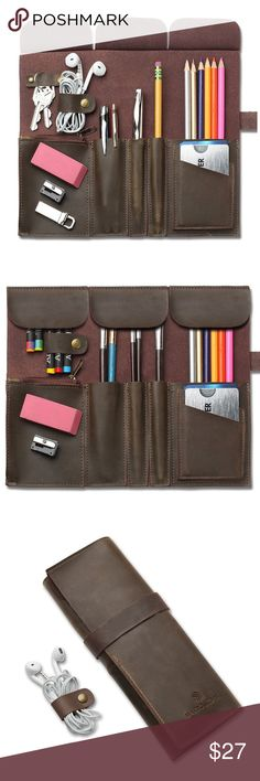 Genuine Leather Pen Pencil Brush Roll Up Sleeve Genuine Crazy Horse Leather Pen Pencil Sleeve Roll Up, Art Accessories Carrier Case, Card Holder Wallet, Keys Holder, Pocket and Travel Organizer with Zipper Pouch and Leather  HIGH QUALITY MATERIAL - Genuine Crazy Horse Leather which is extremely durable, soft on the inside, and only improves its look and feel with use. MULTI-PURPOSE - Can be used to hold and organize items related to school, office, art, and makeup; perfect gift for students…