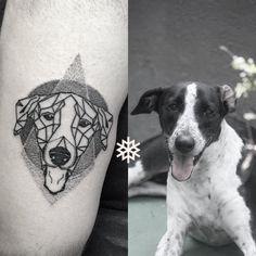 Awesome geometric linework and dotwork dog tattoo #allantattooer #portrait #dog #linework #dotwork #delicate
