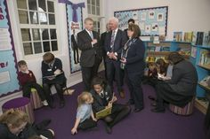 983-HRH Prince Andrew The Duke of York visits City Academy in Whitehawk, Brighton pictured with headteacher David Williams and Sharon Maguire from Roedean School.