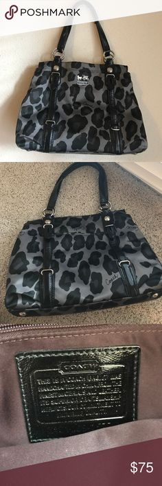 """Coach cheetah print shoulder bag Very roomy and only carried a few times! It's in great condition. Size is approximately 14"""" X 9"""" X 5"""". Beautiful and classic print! Coach Bags Shoulder Bags"""