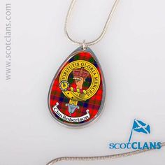 Another ScotClans exclusive. This metal teardrop pendant is finished off with a clan crest of your choosing and associated tartan. generously sized high quality chain - made up to order from our list of hundreds of clan crests.. Free worldwide shipping available