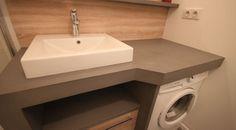 Space saving washbasin flat bathroom sink fits above - Meuble effet beton cire ...