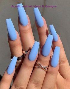 Blue Nail Designs, Acrylic Nail Designs, Art Designs, Design Art, Sky Blue Nails, Pastel Blue Nails, Purple Sky, Summer Acrylic Nails, Blue Acrylic Nails Glitter